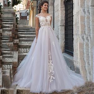 Yeni Designl Scoop Dantel Aplike kap Kol Tül A Hattı Gelinlik 2020 Boho Gelin Kıyafeti trouwkleed vestido de Noiva