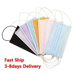 Einweg-Gesichtsmasken 50pcs / bag für Erwachsene bunten Maske 3 Schicht Balck Grau Rosa Staubmundmasken Cover 3-Ply Non-Woven-DHL