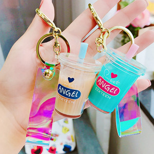 Creative Mini Soft Drink Keychain Coconut Milk Beverage Bubble Acrylic Moving Liquid Oil Drop Decompression Jewelry Gift