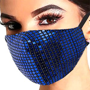 Fashionable Men's Women's Square Shiny Sequin Protective Masks Dust-proof Breathable Washable Masks Adjustable Ear Buckle Masks DH