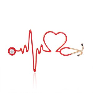 Red Heart Rate броши Эмаль Электрокардиограмма Стетоскоп Больница доктора Брошь Pins