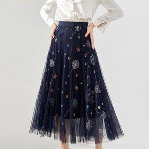 PyEAj Shenzhen Nanyou 2020 robe printemps et en été nouvelle gaze élastique des femmes des femmes minceur taille haute jupe Shenzhen Nanyou tenue décontractée
