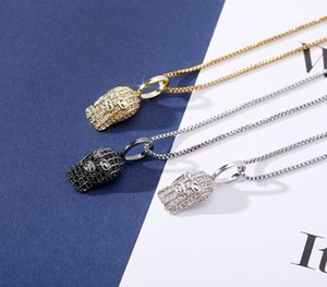 HipHop Iced Out Zircon Masked Man Silver Pendant Necklace Gold Silver Plated Mens New Fashion99
