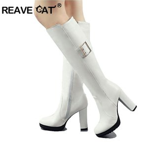 REAVE CAT Women Knee High Boots PU Leather Slip on Synthetic Fashion Round Toe All Match Platform Ladies Long Shoes A1210