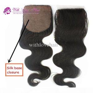 Free Shipping 4*4 inch Cheap Peruvian Virgin Human Hair Body Wave Hidden Knots Silk Base Closure Piece With Love Hair Products
