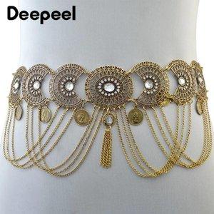 Deepeel 1pc 5cm * 94cm Femmes creux en métal sculpté Vintage Cummerbund Tassel strass décoratif chaîne taille pour la danse du ventre CB602