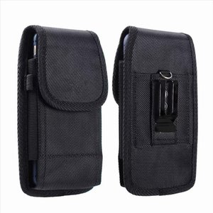 Portable Solid Black Phone Pouch Fanny Pack Belt Clip Without Carabiner Hanging Waist Storage Bag Women Mens Outdoor Phone Bag