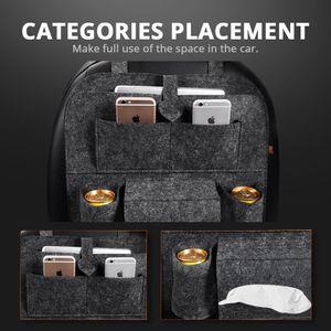 Universal Car Rear Seat Organizer Bag Organizer Trunk Flexible Felt Storage Bag 6 Pockets Organizer Hanging Car Accessories