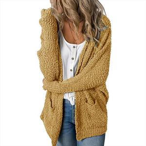 2019 Women Loose Cardigan Coat Double Pocket Design Sweater Jacket Sweet Women Casual Long Knitted Cardigan Cape Top