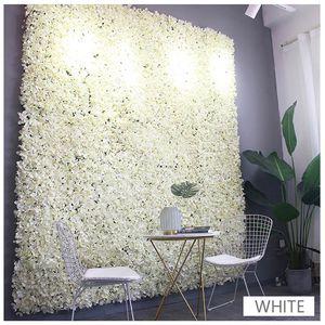 Flower wall 40x60cm Artificial Flower Panels Wedding Decoration Backdrop Champagne Silk Rose Fake Hydrangea Wall Backdrop