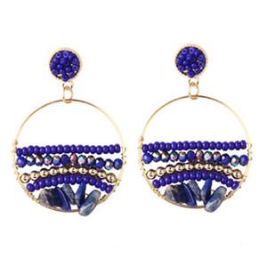 Bohemian Handmade Beaded Drop Earrings For Women Fashion Boho Acrylic Crystal Beads Stone Dangle Earring Vintage Jewelry