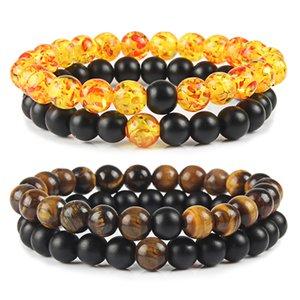 2Pcs / Set Casais Pulseiras Tiger Eye Pulseira Pedra clássico Pedra Natural Ambers Preto Matte Beading pulseiras Homens Mulheres