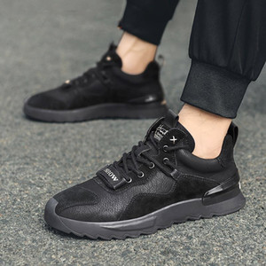 Shake sonic boom leather fashion tide shoes autumn men low leg breathable non-stuffy foot casual shoes work wear slip outdoor sports shoes