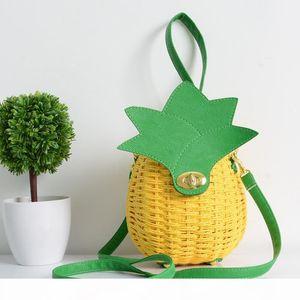 Straw Handbag Cute Fruit Bag Pineapple Package Pure Hand-Made Woven Circular Women Handbag Messenger Bags