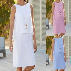 Neck Womens False 2PCS Dresses Summer Solid Color Sleeveless Ladies Dress Female Apparel Plus Size Crew