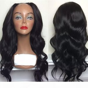 U Part Wavy Human Hair Wigs Black Women Remy Body Wave Virgin Peruvian Upart Wig Middle Part With Baby Hair