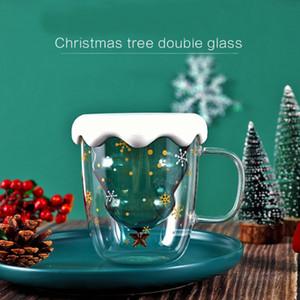 9oz Wholeasale مزدوجة الجدار البورسليكات الزجاج شجرة عيد الميلاد المياه البهلوان عيد الميلاد أطفال بنات عازل للحرارة الكي شرب القهوة القدح البهلوان