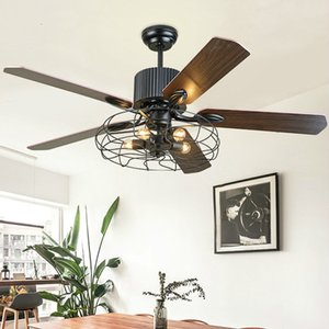 Ceiling fan light home living room restaurant American E27 Loft Iron Wood fan lights bedroom silent Ceiling lamp mx6271621