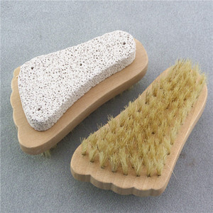 Natural Pumice Stone Brush Foot Bristle Brushes Wooden Exfoliating Scrub Dead Skin Spa Massager Shower Two Sided DHB1985