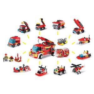 HOT 12 on 1 fire fighting truck Building blocks world Plastic Tinker Box car toy kids toys Children's Educational Intelligence Environmental