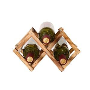 3/6/10 Şişe Depolama Çam Ahşap Katlama Şarap standı Katı Ahşap Şarap Raf Çoklu şişe Depolama Süsler Red Wine Rack