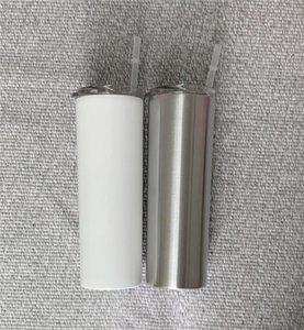 Sublimación flaco Vasos de 20 oz en blanco taza flaca blanca con paja tapa de 20 oz de acero inoxidable taza para beber agua taza aislada