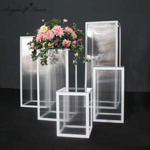 Acrylic geometric pillar iron rack Wedding props cake flower stand table crafts decor candy display pedestal columns shelf