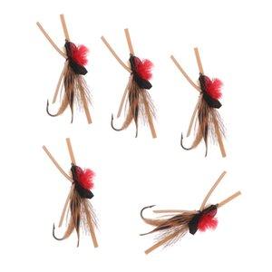 5шт Приманки Fly Fishing Крючок Бабочка Насекомые Стиль Лосось Мухи Форель Single Dry Fly Fishing Lure