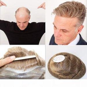 Dünne Haut der Männer Toupet Voll Pu Toupet für Männer Naural Schwarz-Menschenhaar-Toupet-Ersatzsystem Men Haar Keiner Spitze