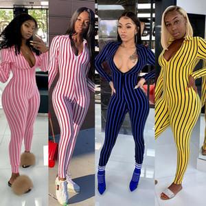 Senyu Nightclub Stripe Stampato Nine-Point Manicotti Sexy Zipper Body Body Tuta Tuta da donna Abbigliamento Abbigliamento Abbigliamento Abbigliamento Abbigliamento da lavoro
