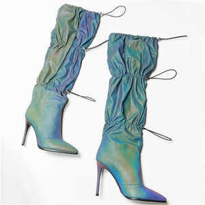 High Heel Ladies Mid-tube Boots Reflective Fabric Catwalk Nightclub Sexy Women Shoes 2020 New Luxury Designer Zapatos De Mujer
