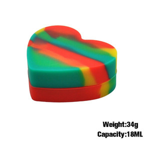 форма 18мл Сердце Food Grade Silicone Nonstick хранение Jar Контейнер для нефти Dab Воска BHO Crumble Goo Мед из нержавеющей стали Wax Oil