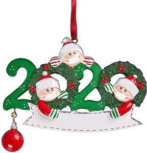 Ornamento de Natal 3D Survivor personalizado Família 2 3 4 5 6 7 Árvore de Natal Decoração Masked mão-lavados pendurado pingente de PVC