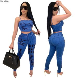 CM.YAYA Club Party Letter Print Fake Jean Women Set Two Piece Set Tracksuits Crop Top Jogger Sweatpants Suit Outfit Matching Set X0924