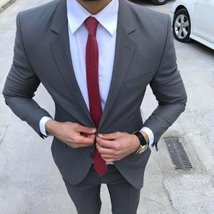 Formal Wedding Men's Dark Gray Slim Fit Suit Two Button Notch Lapel Groom Tuxedos Formal Party Prom Suit 2 PCS Blazer + Pants