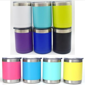 10oz Stainless Steel Tumblers Cooler Cup Double Wall Insulated Wine Beer Mugs Travel car Coffee Cups With Lids DHD285