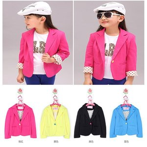 Child Casual Kids Girls Outerwear Suit Candy Color Blazers Slim Fit Jackets 2-7Y Wholesale and Drop Shipping