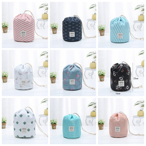 Toiletry Bags Function Travel Drawstring Cosmetic Bag Lady Color Cylinder Cosmetic Bags Waterproof Large Capacity Storage Bag OWB1998