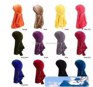 New Men Women Bandana Velvet Turban Hat Durag Hip hop Headwear Headscarf long tail headwrap Skull Cap Pirate Hat For Men And Women 12Colors