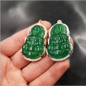 Горячее качество латунь S925 серебро гальванического замороженное из нефрита Будды кулон ожерелья ювелирных изделий для женщин