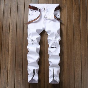 Mens White Straight Jeans Leg Zipper Up Design Distressed Ripped Holes High Stretch Denim Pants Size 40