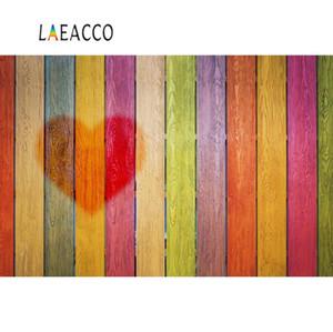 Laeacco Foto Fundos das pranchas coloridas de madeira Retrato Board Red Baby Love Coração Fotografia Backdrops Photocall Photo Studio