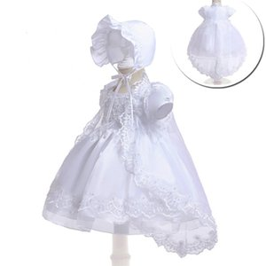New Baby Girls Dress with Hat and Cape Kids Lace Christening Dress for Birthday Party Formal Kids Clothing 0926