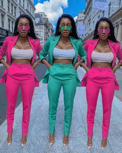 Printed Lapel Neck Pants Suits Womens Clothing 2 Piece Set Autumn Ladies Designer Blazers Suits Solid Color