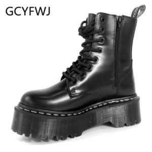 GCYFWJ Brand Design Frauen lädt Winter-Zipper Ankle Boots schnüren sich oben Plattform-Schuhe Frau Militares Riding Weiblich Botas Mujer 2020