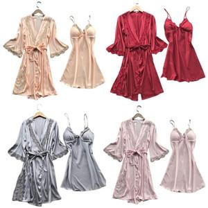 Womens Imitation Silk Sexy Kimono Robe Nightdress 2Pcs Sleepwear Set Solid Color Floral Lace Patchwork Pajama Camisole Nightgown