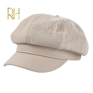 Herbst-Frauen PU Berets Hat Fashion Retro Spitze Stitching Octagonal Cap Weibliche starke warme Wintermützen Ballon- Hat RH