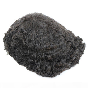 Durable Skin Base 20mm Deep Curl Men Human Hair System Replacement Toupee Hairpiece Installation Wig Prosthesis for Hair Loss