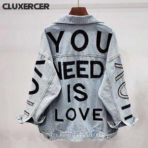 Streetwear do estilo Carta bordado jaqueta jeans Mulheres Diamonds Jeans Brasão Feminino Casual Primavera Outono solto Casacos