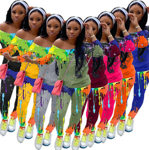 Donne Tuta Graffiti Splash Ink diagonale spalla manica lunga T Shirt pantaloni delle ghette due pezzi Outfits Pittura Sport Suit D91601
